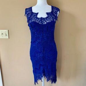 Ezra Juniors Womens Large Blue Lace Dress